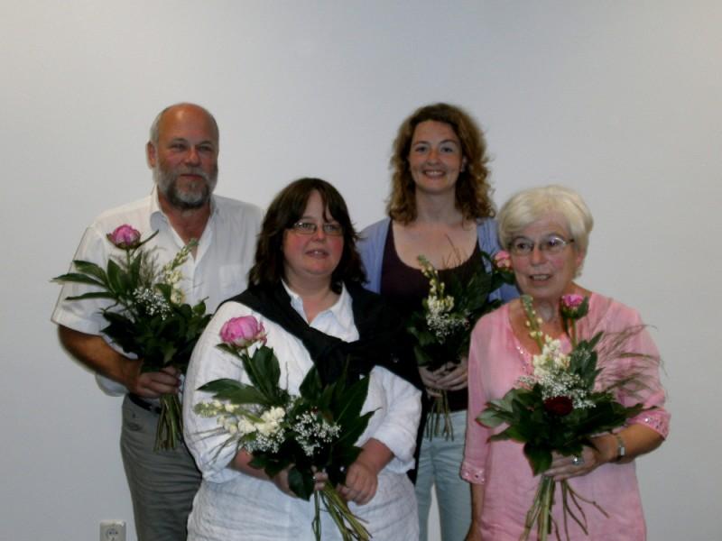 hinten vl: Uwe Petersen, Saskia Hynek vorne vl: Daniela Evers, Gudrun Wöbbeking